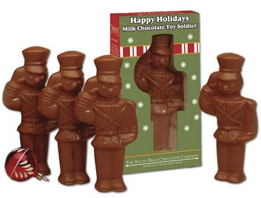 Hand molded solid milk chocolate toy soldier in a gift box that is ready to wrap. 3.5 oz.