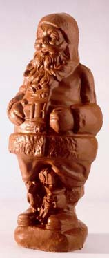 Milk chocolate 3 1/2' Santa is 65 lbs.
