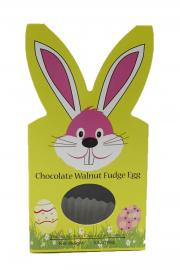 Our hand rolled chocolate and walnut fudge egg covered in milk chocolate. Available February 1 - while supplies last.
