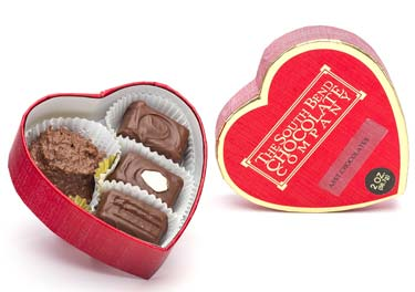 Valentine Heart box with our Classic Assortment Chocolates. Assorted creams, caramels and meltaways in a red heart box. Available January 1 - while supplies last.