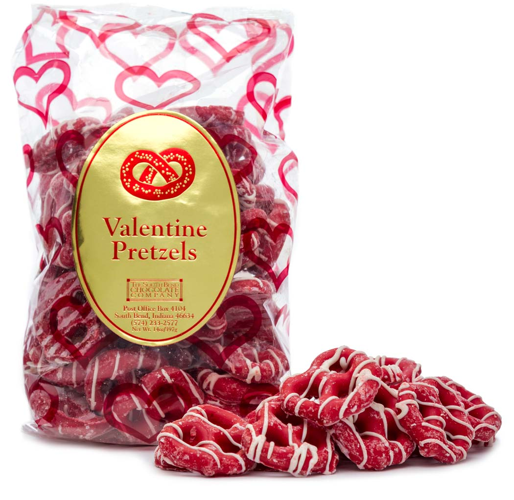 Cupid-inspired cherry chocolate covered pretzels and striped with white chocolate. Available January 1 - While supplies last.