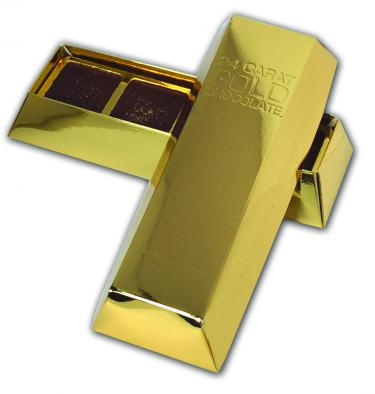 Each 6 oz. embossed gold bar contains four hand-poured squares luxuriously sprinkled with real gold.