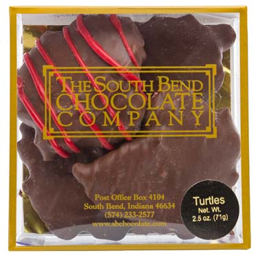 One taste of our turtles will convince even the most sophisticated chocolate lover that it's superior. Fresh roasted pecans, creamy caramel and rich pure milk chocolate are blended together to create this American favorite. Available January 1 - while supplies last.