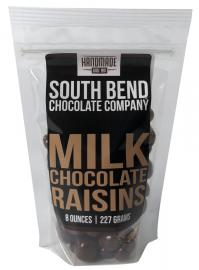 Raisins coated in milk chocolate.