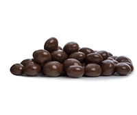 Roasted Colombian coffee beans coated in milk chocolate.