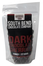 Dried Michigan cherries coated in dark chocolate.