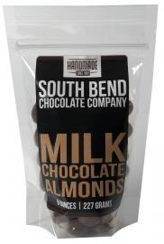 Fresh roasted almonds coated in milk chocolate.