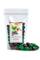 Almonds roasted coated in milk chocolate, mixed with almonds covered with a green mint coating.