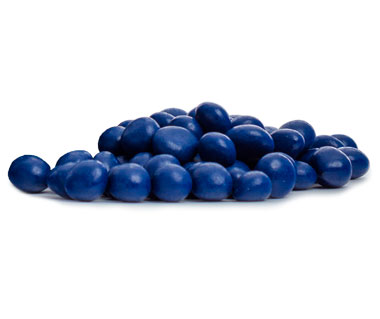 Dried blueberries coated in milk chocolate and then covered with a blueberry coating.