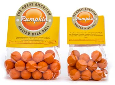 Malted milk ball center coated in milk chocolate and then covered in a pumpkin coating. Available August 1 - while supplies last.