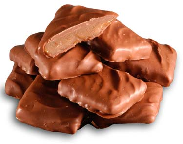 Toffee squares covered in milk chocolate.
