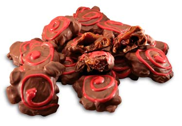 Fresh roasted pecans, cherries and creamy caramel covered in milk chocolate.