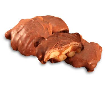 Fresh roasted Spanish peanuts and creamy caramel covered in milk chocolate.