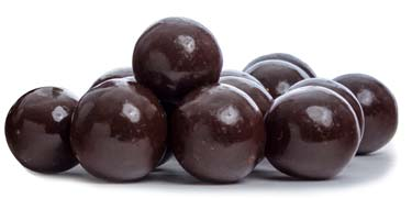 Malted milk ball center coated in dark chocolate.