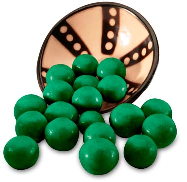 Malted milk ball center coated in milk chocolate and then covered in a mint coating.