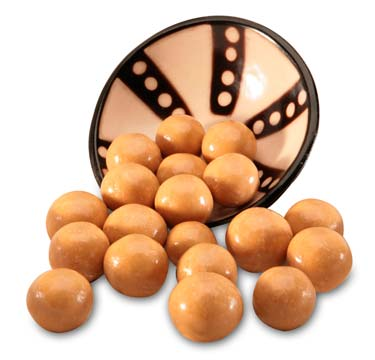 Malted milk ball center coated in milk chocolate and then covered in a peanut butter coating.