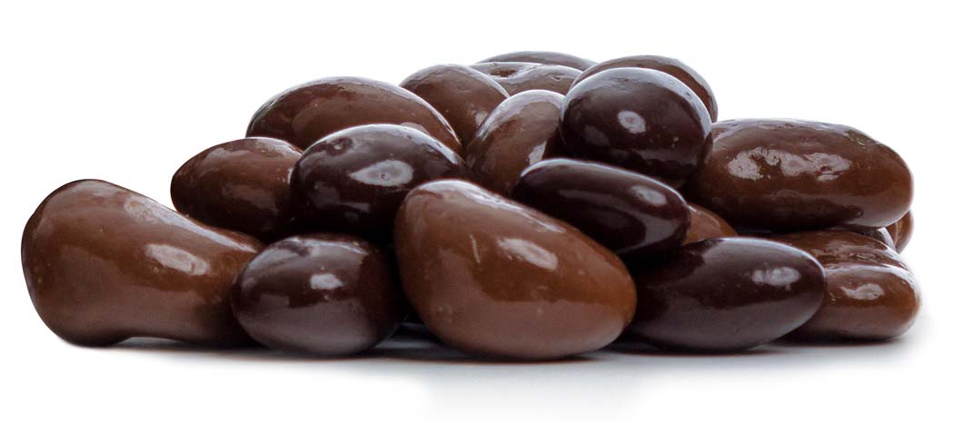 A mixture of roasted cashews, almonds, pecans, and Brazil nuts coated in milk or dark chocolate.