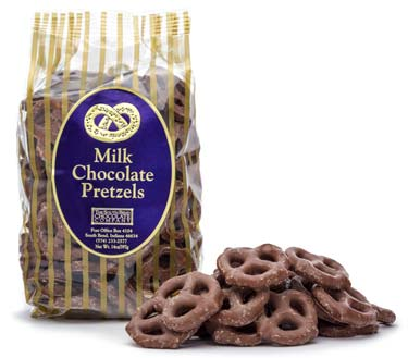 Milk chocolate covered pretzels.