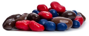 A combination of coated blueberries, ruby red cherries, raisins, and our assorted coated nuts.