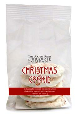 5 chocolate cookies covered in white chocolate, topped with candy cane. Available October 1 - while supplies last.