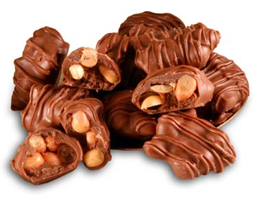 Pecans and sugar-free caramel and covered in sugar-free dark chocolate (using Maltitol).