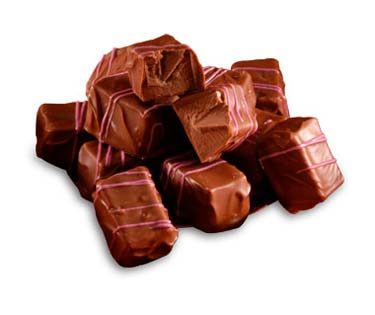 Raspberry chocolate center covered in milk chocolate.