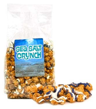Caramel corn drizzled with white chocolate, a swirl of blue and of course, sea salt.