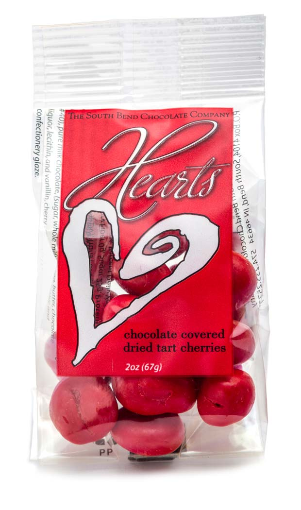 Red chocolate covered dried Michigan tart cherries. Available January 1 - while supplies last.