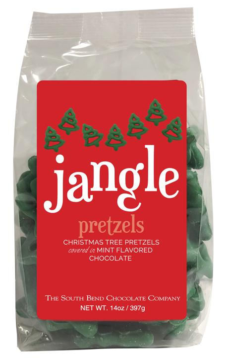Christmas tree pretzels covered in mint flavored chocolate.