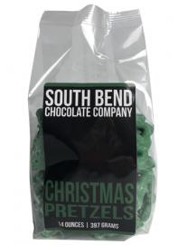Christmas tree shaped pretzels covered in green mint flavored chocolate.Available October 1 - while supplies last.