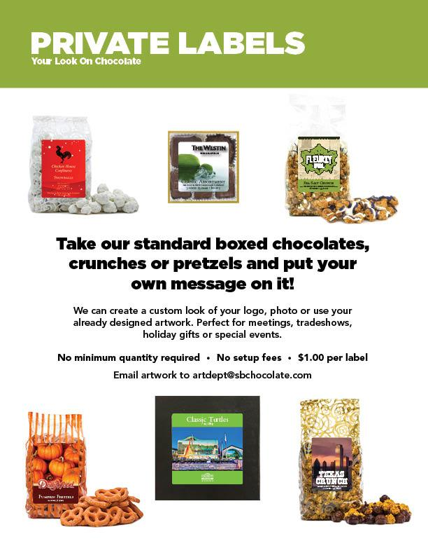 Take our standard boxed chocolates, crunches or pretzels and put your own message on it!